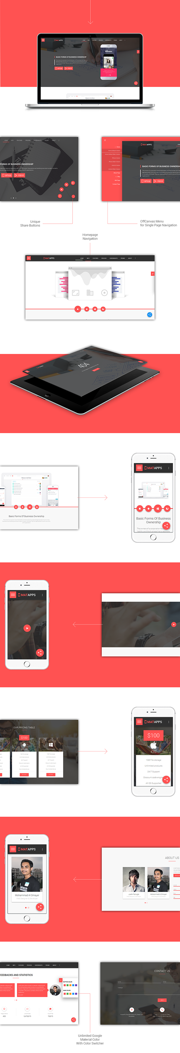 MatApps Responsive Multipurpose App Landing Page ThemeLooks - Landing page html template